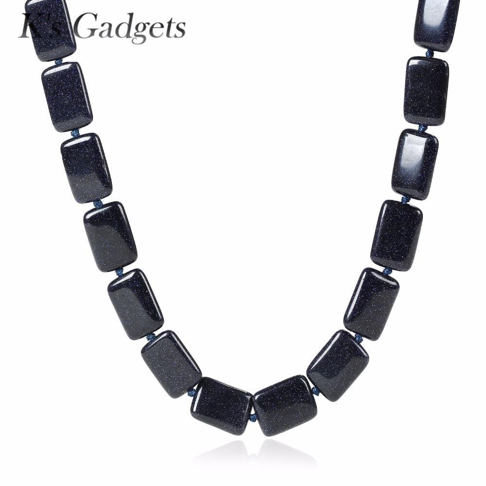 997adbde8f76 Collar de piedra natural cuadrado Collares para mujeres Joyería hecha a  mano Vintage Retro Arena azul Piedras semipreciosas Collar de cuentas