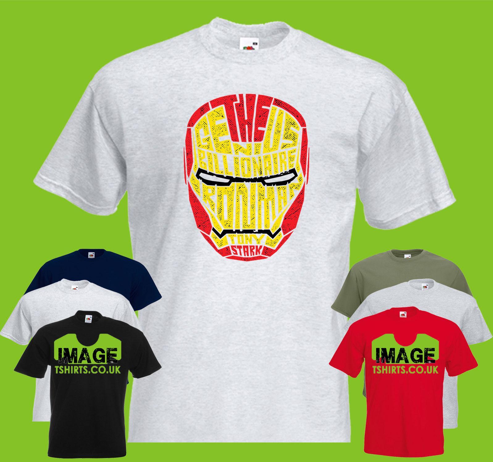 Iron Man Mens Printed T Shirt Text Typography Super Hero Suit Helmet