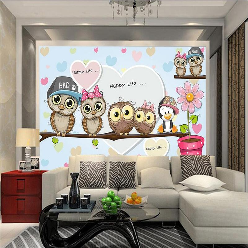 3D Living Room Wall Stickers Cute Cartoon Photo Mural Owls Couple Kids Wall Papers Pink Romantic Papers for Children Room