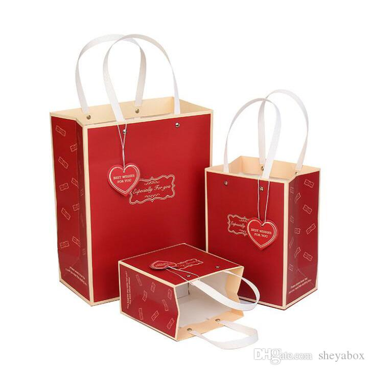 Retail Store Paper Gift Bag Jewelry Clothes Accessories Crafts Sales Packing Bags Wholesale Black Red Color Elegant Design