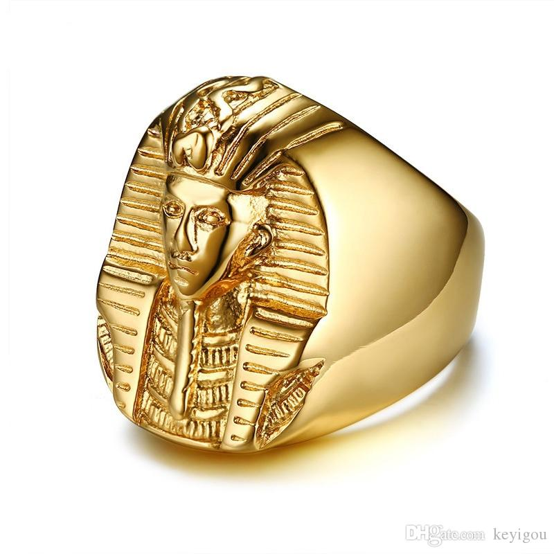 Pharaoh Shaped Rings for Men Gold Tone Stainless Steel Rock Punk Ancient Egypt Male Finger Ring Accessories