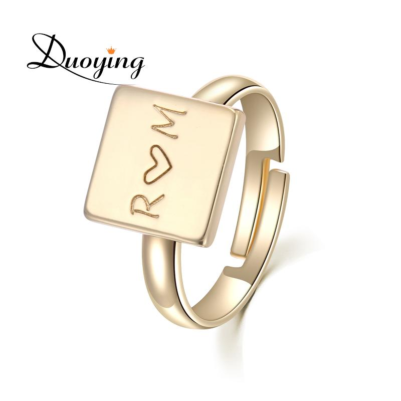 2019 DUOYING Square Love Engraved Ring Customized ServInfinity Cuff Open Simple Birthday Promise Gift For Her Etsy Supplier From Vineer