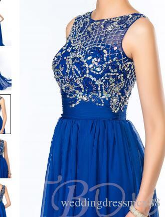 019Beadings Sequins Chiffon Floor-Length Prom Dress