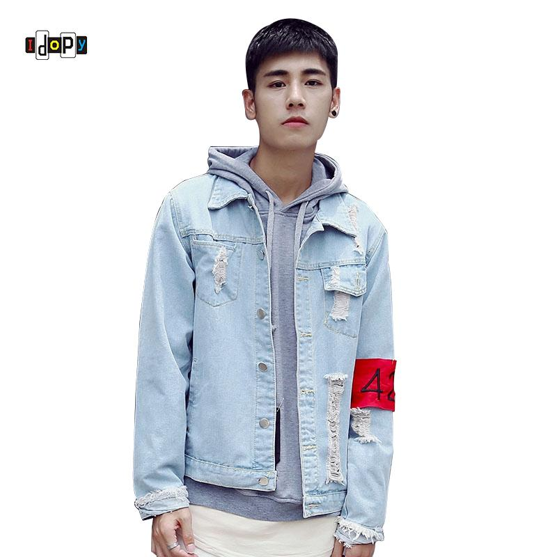 a1fb2b8df8d Men s Casual Denim Jacket Slim Jeans Jacket Street Style Stone Washed  Ripped Slim Fit Denim Jean Bomber Jacket For Men Coat For Men Online White Coat  Jacket ...