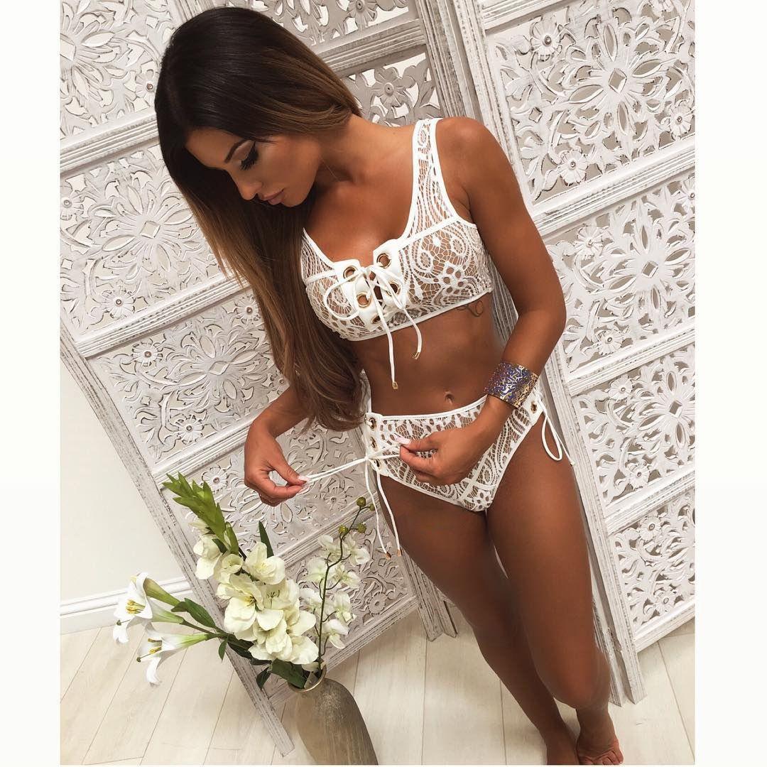 2018 Moda Blcak Lace Branco Cintura Alta Maiô Bikini Set Sólidos Biquínis Mulheres Push Up Sexy Swimwear Banting Terno de Natação