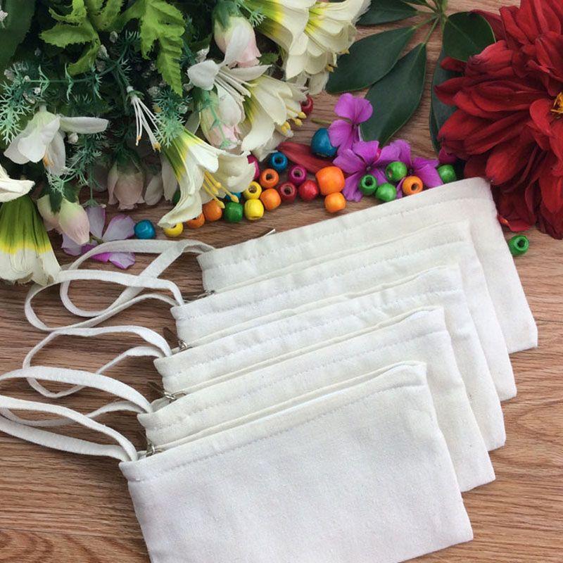 11 * 20 cm Lona de algodón blanco puro bolsas de cosméticos bricolaje mujeres en blanco con cremallera bolsa de maquillaje teléfono embrague bolsa de almacenamiento ZA6070
