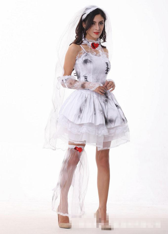 adult women halloween corpse ghost bride costume ladies white dress skeleton scary zombie cosplay outfit for girls infant halloween costume adult halloween