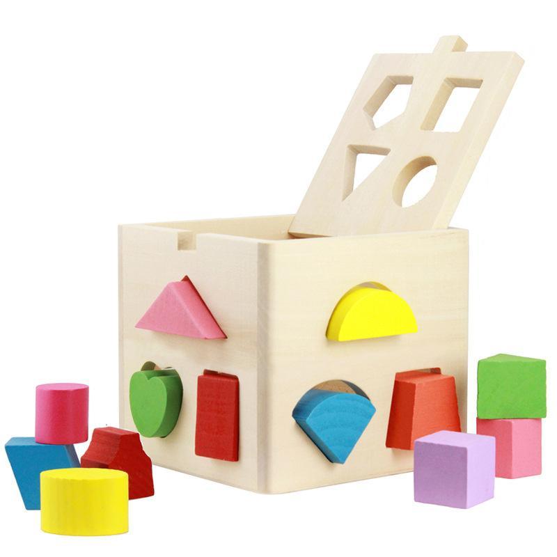 Thirteen Hole Intelligence Box Building Blocks Children Gift Creative  Design Wooden Bricks Toy 18 62ts C R