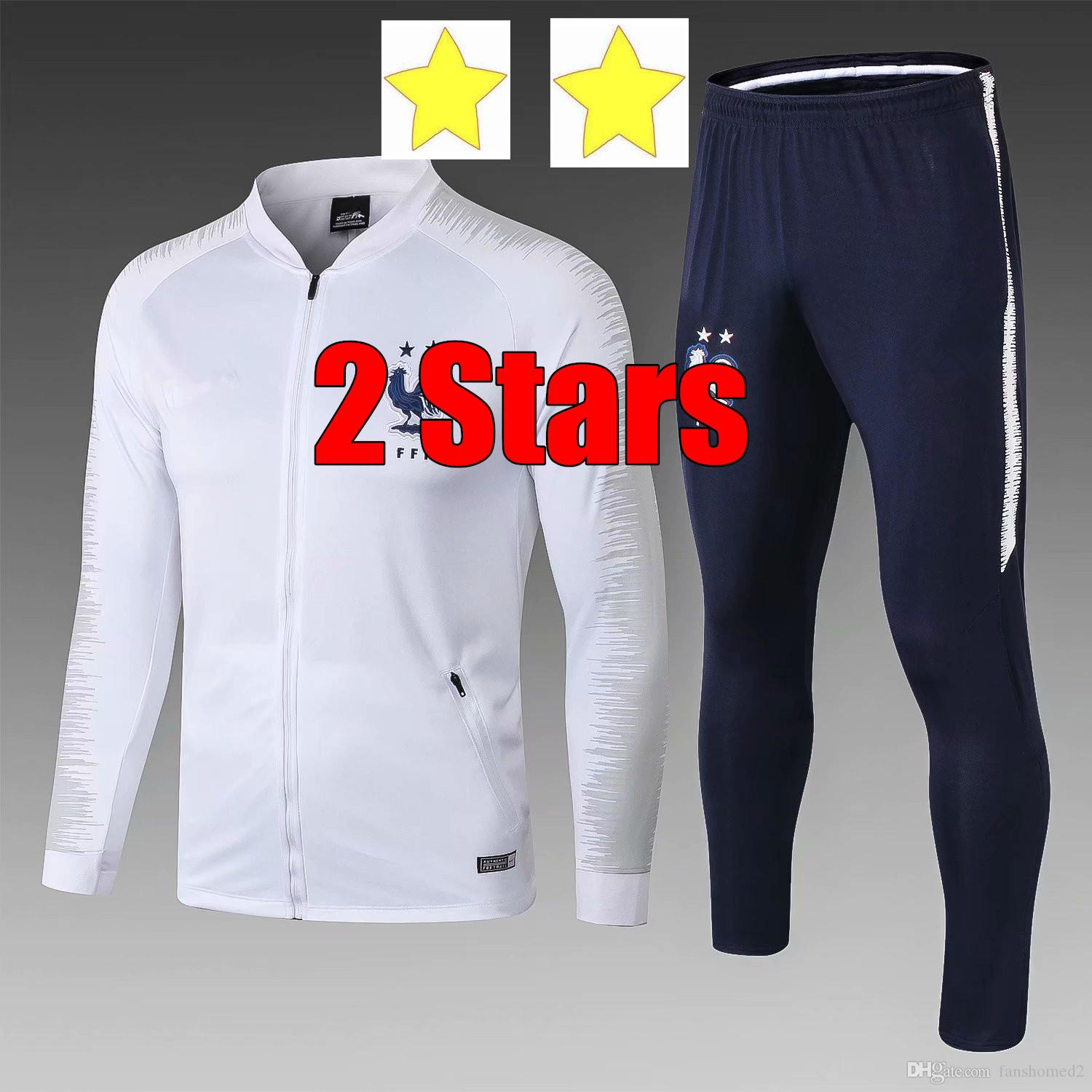 ef40d9c87 2018 World Cup French Jacket Sets 2 Stars Champions Survetement Maillot De  Foot French Away White Football Training Suit Football Tracksuit UK 2019  From ...