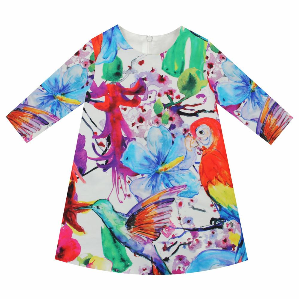 Girls Dresses parrot Print Children Designer baby Kids Clothes gril Fashion Kids 7 sleeve Girl clothing Spring and autumn dress