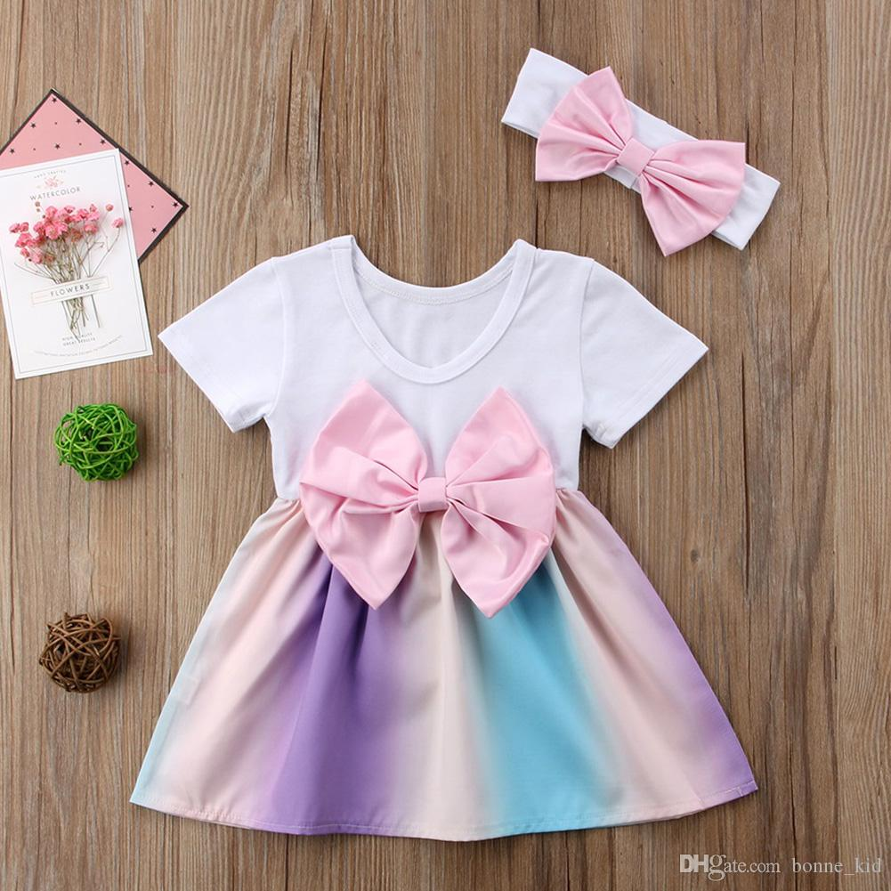 435395ea0c24 2019 Summer Baby Girl Rainbow Dress Bowknot TuTu Dresses With Headband Set Outfit  Princess Dress Costumes Baby Girls Clothes Kid Clothing From Bonne kid