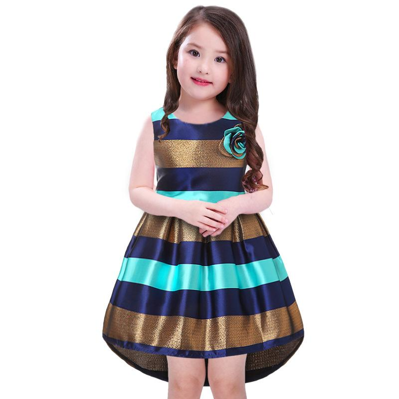 New Fashion Princess Bow Girls Striped Dresses For Girls Of 2-12 Years Old 2017 Formal Ball Gown Floral Girls Dresses