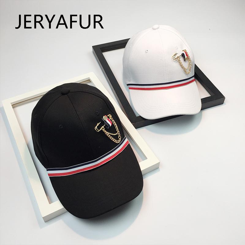2018 JERYAFUR Fashion Golden Chain Baseball Cap Men Women Leisure Street Hip Hop Snapback Hat Shade Curved Skull Hat Wholesale