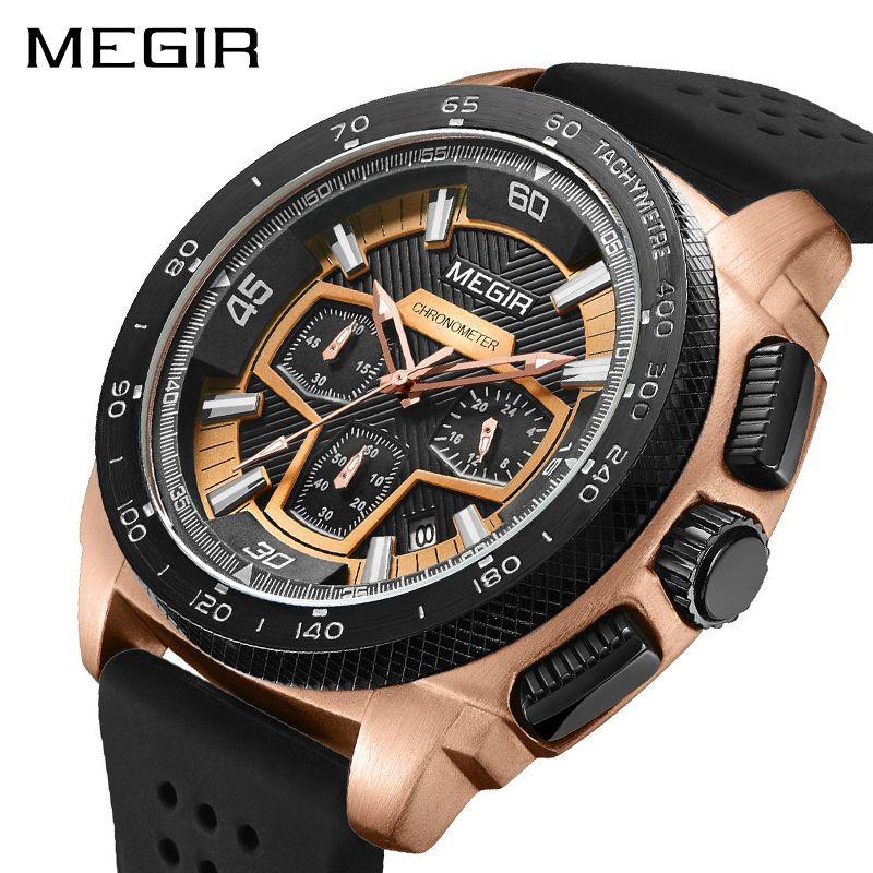 516d873a970 Compre Megir Cronógrafo Men Sport Watch Moda Silicone Militar Do Exército Relógios  Relogio Masculino De Quartzo Relógio De Pulso Relógio Dos Homens 2056 De ...
