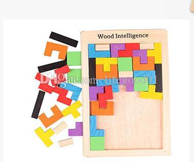 18*27*0.8cm Wooden Building Blocks Toys For Kids Educational Russian Wood Intellegence Block & Building Toys