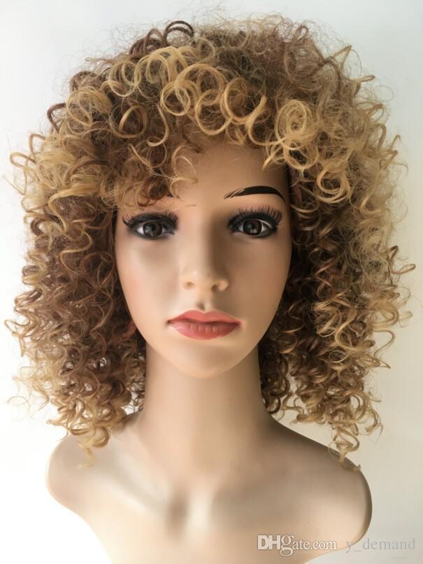 최신 Ombre 짧은 갈색 털이 변태 곱슬 머리 아프리카 가발 Siulation 브라질 인간의 머리 가발 전체 가발 재고 있음