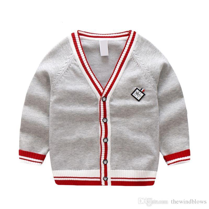 9b3c40ffe349 Boy Sweater 100% Cotton Single Breasted 3 8year Child Knit Car ...