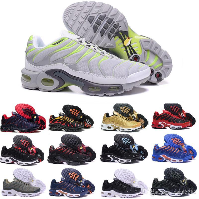pick up 1917c eff61 Compre 2018 Nike Air Max Airmax Tn Plus Barato De Calidad Hight Brand New  Sports Tn Zapatos Casuales Para Hombres Negro Blanco Mens Athletic Footing  Tenis ...