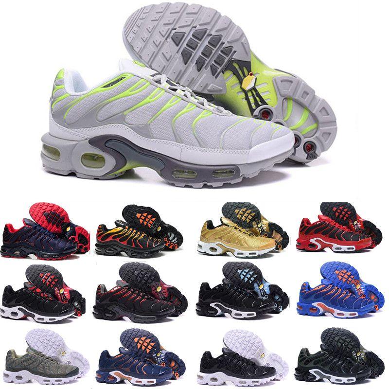 wholesale dealer f244f 92148 Acheter 2018 Nike Air Max Airmax Tn Plus Pas Cher Hight Qualité Brand New  Sports Tn Casual Chaussures Pour Hommes Noir Blanc Hommes Athletic Jogging  Tennis ...