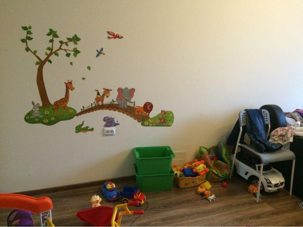 3D Cartoon Jungle wild animal tree bridge lion Giraffe elephant birds flowers wall stickers for kids room living room home dec