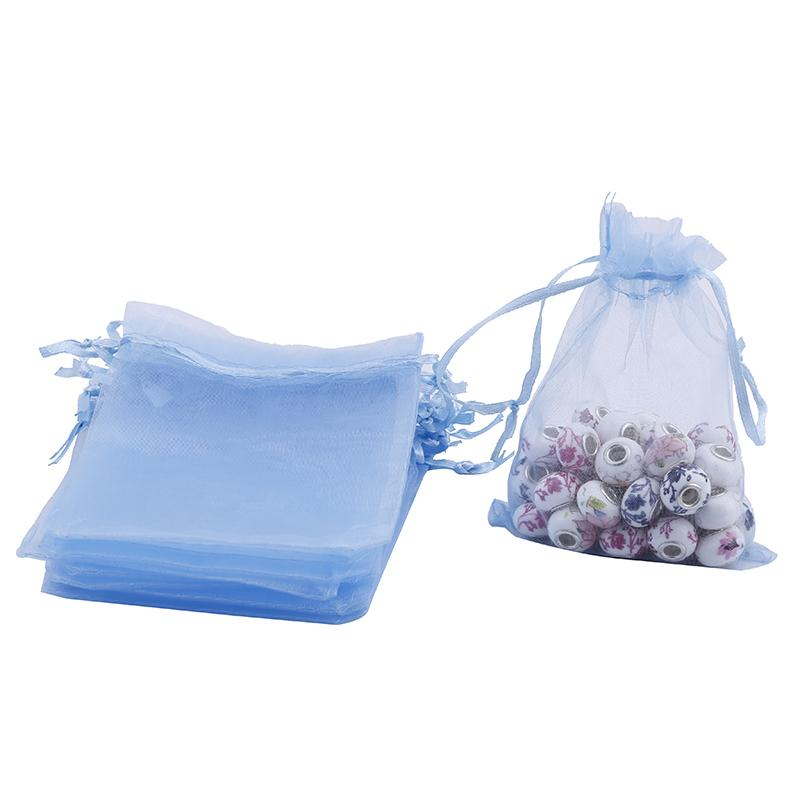 120*100mm Organza Drawstring Gift Jewelry Bag Pouch Light Blue CHIC
