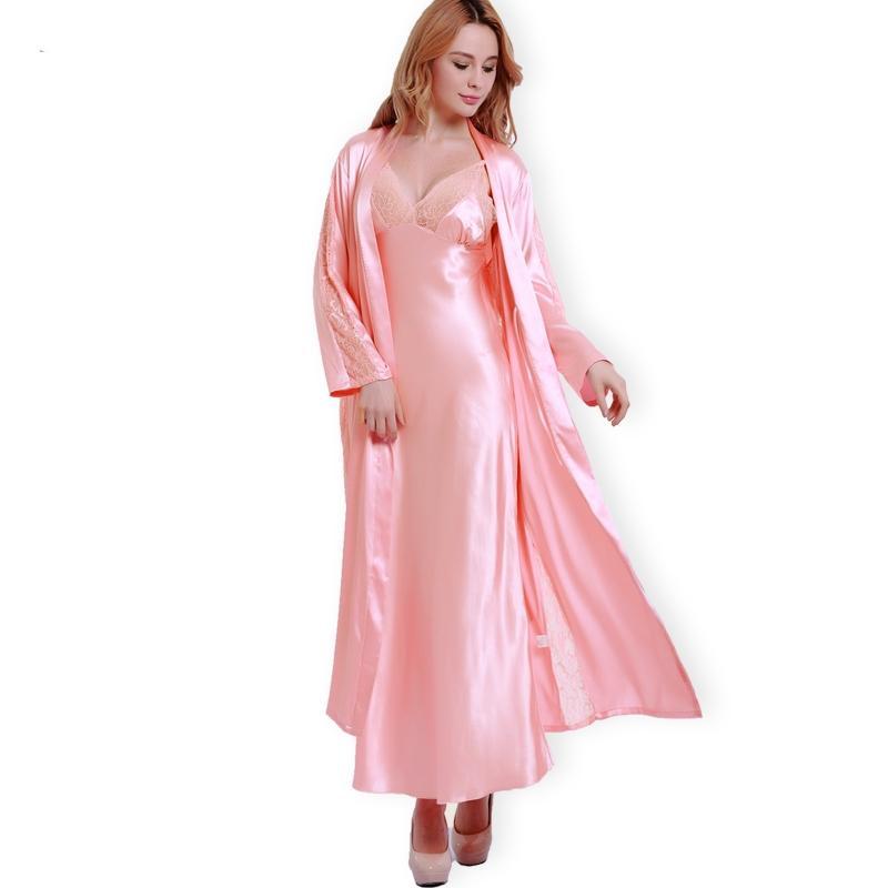 Compre Moda De Nova Robes De Seda + Camisola De Duas Peças Mulheres  Sleepwear Sexy Lace Com Decote Em V Sleeping Robe Long Sleeve Nightgowns  FW001 De Yakima ... 22724c825