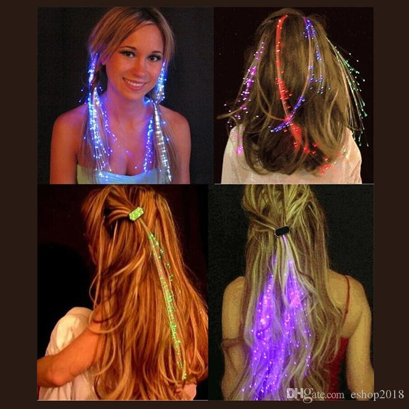 Best Deal Luminous Light Up LED Hair Extension Flash Braid Party girl Hair Glow by fiber optic For Party Christmas Halloween Decoration