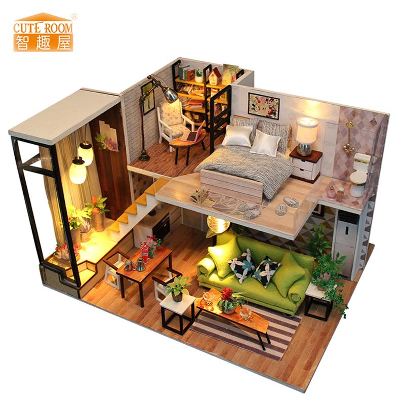 New Furniture Diy Doll House Wooden Miniature Doll Houses Furniture Kit Box  Puzzle Assemble Dollhouse Toys For Children Gift M30 Wooden Dollhouse  Furniture ...