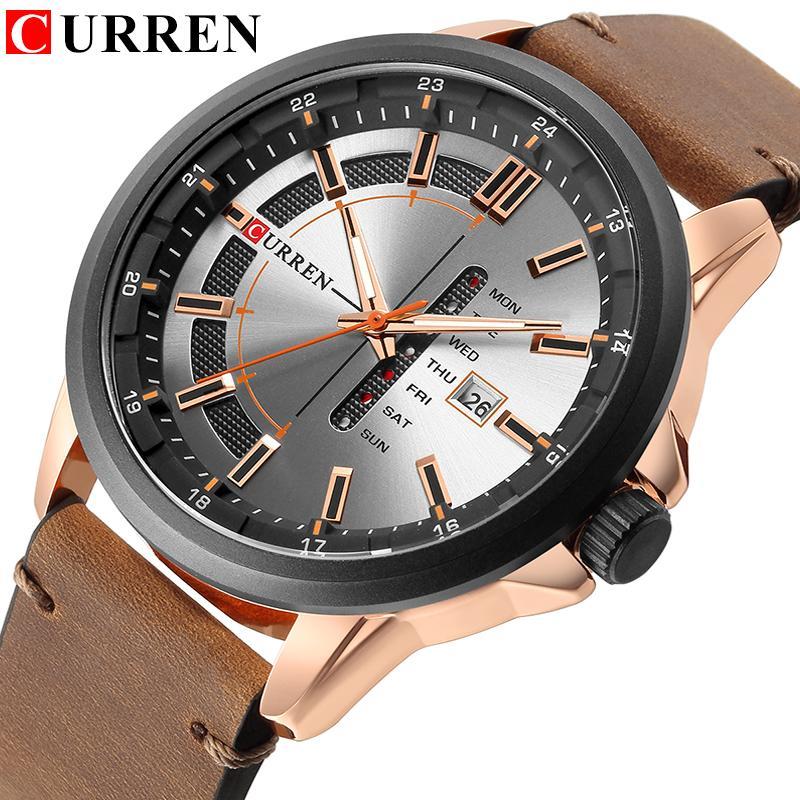 a440016cf72 Curren 8307 Quartz Men Watches Auto Date Week Calendar Wristwatches Fashion  Casual Leather Man Watch Relogio Masculino Relojes Unique Watches Black  Watches ...