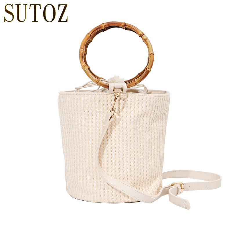 7a6b4753ea34 Bamboo Top Handle Woman Bag Canvas Woven Straw Beach Bucket Single Shoulder  Round Straw Bag Messengers Women S Handbags BA675 Red Handbags Pink Handbags  ...