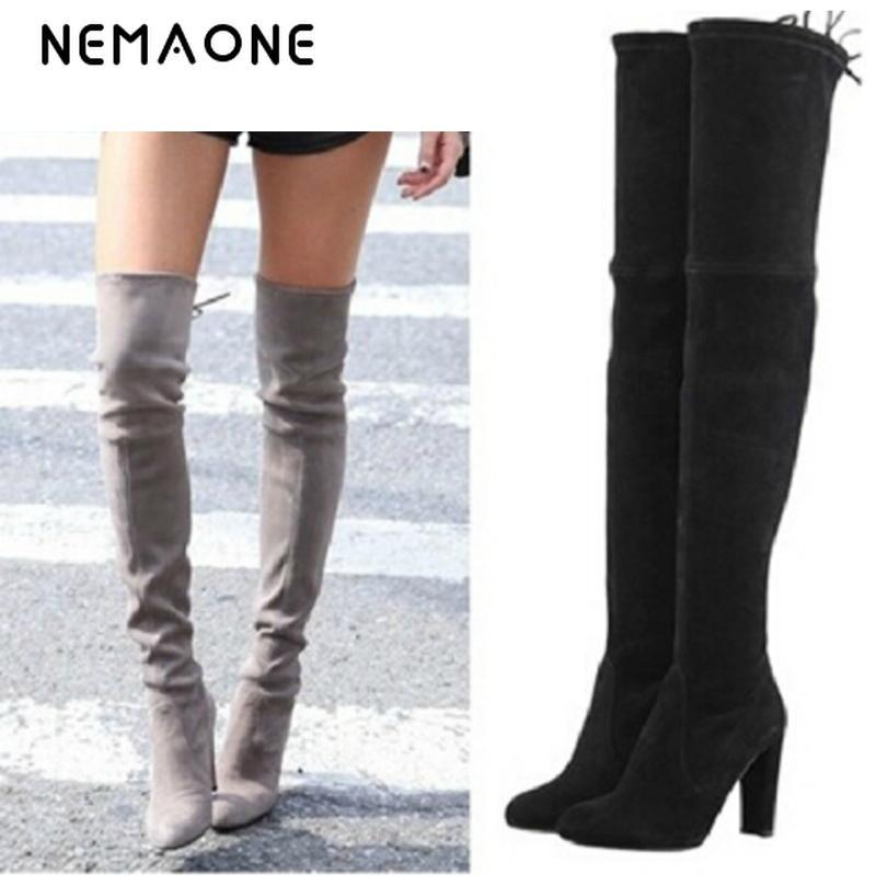 0b8b408eacd 2019 NEMAONE Women Stretch Faux Suede Thigh High Boots Sexy Fashion Over  The Knee Boots High Heels Woman Shoes Black Gray Winered From China smoke