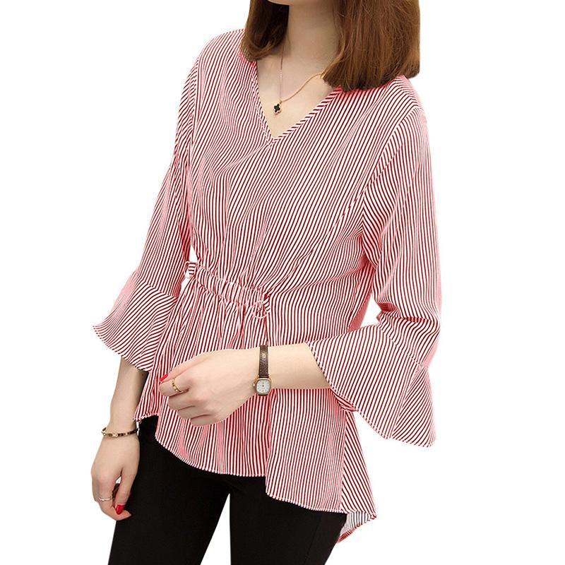 029fc793e Blusas y blusas para mujer Ropa de trabajo elegante para damas Camisas de  rayas Mangas abullonadas con cuello en V Tallas grandes 3XL 4XL 5XL Top ...