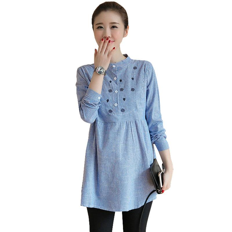 6dcf21e82c7 2019 Casual Maternity Blouses Shirts For Pregnant Women Clothes Cotton Long  Sleeve Tops Pregnancy Clothing Gravidas Blouses Wear From Namenew, ...