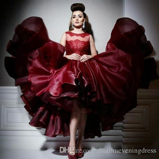 e57537acfa4 Robe De Soiree High Low Formal Evening Gowns Short Prom Dresses Red Prom  Dress Burgundy Evening Dress Ballgown Party Dress Red Dresses Under 50  Elegant ...