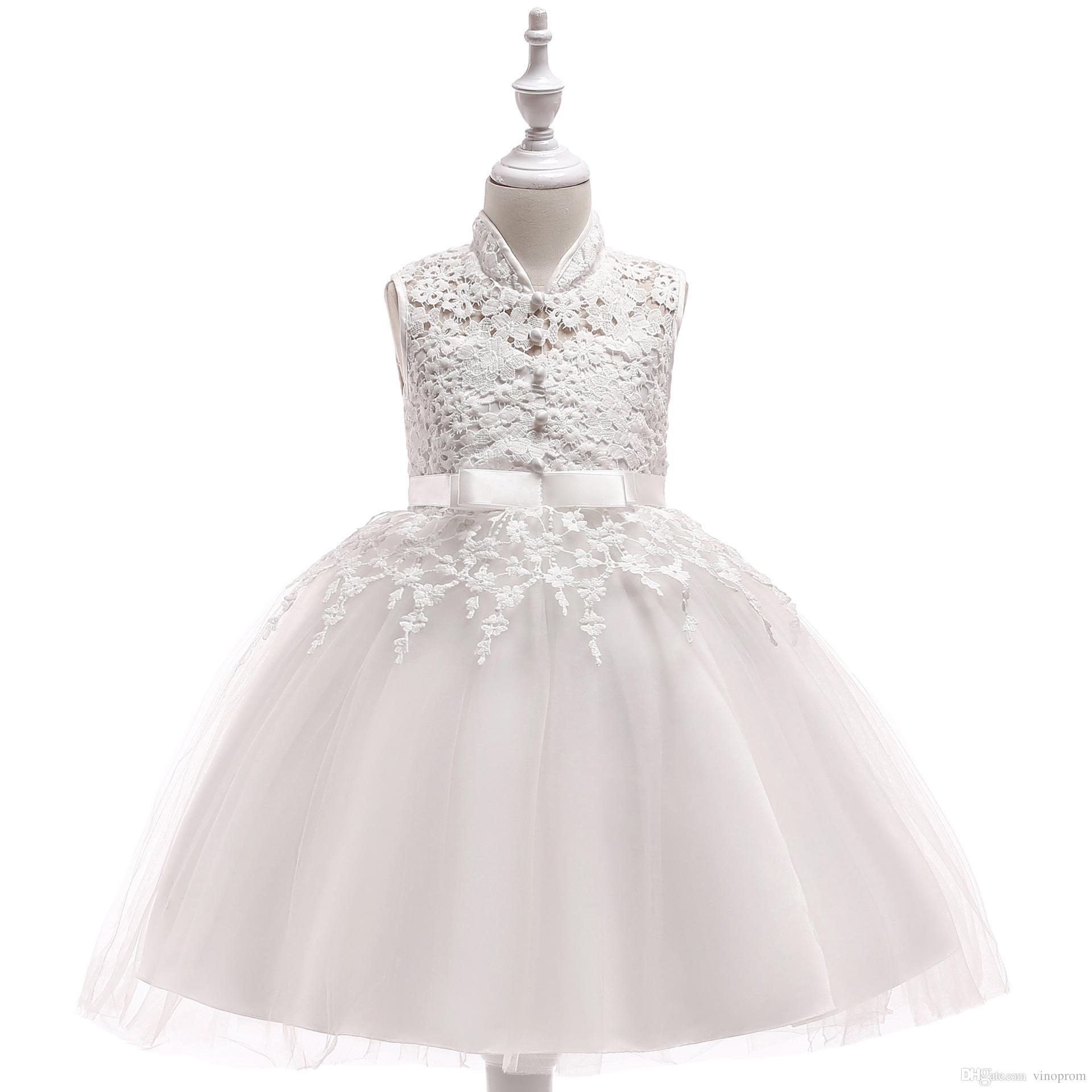 Champagne 2018 Flower Girl Dresses Matrimoni abito di sfera con collo alto Tulle pizzo perle lunghi prima comunione abiti le bambine