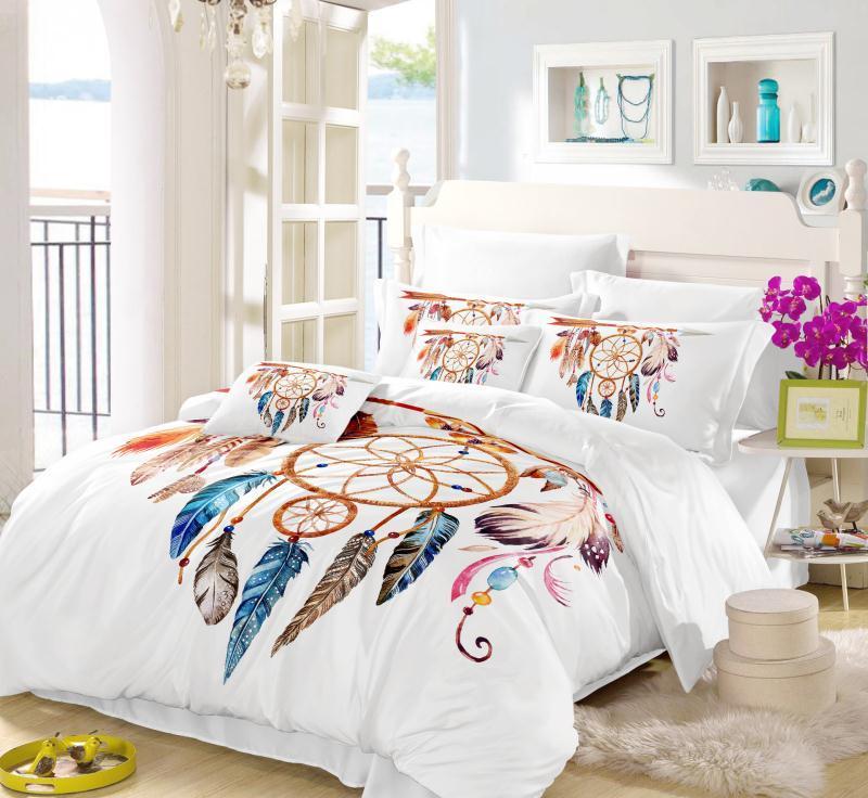 Moon Dreamcatcher Bedding Set Queen Size Feathers Duvet Cover White ...
