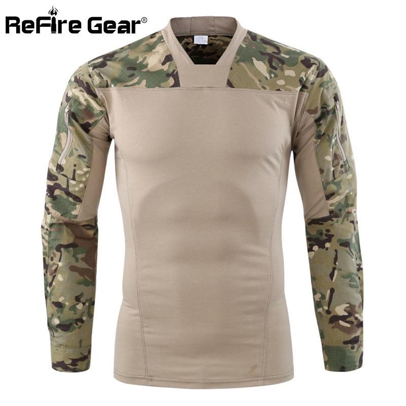 0ce0002b7b ReFire Gear Camouflage Army Tactical T shirt Men Long Sleeve Combat T-Shirt  Stretch Cotton Camo Paintball Shirt