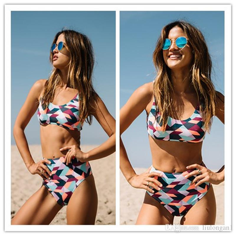 2018 Hot Sale High Waist Women Bikini Sets Sports Biquini Femme Training Swimwear Shorts Geometric Print Bathing Suit Swimsuit Tankini