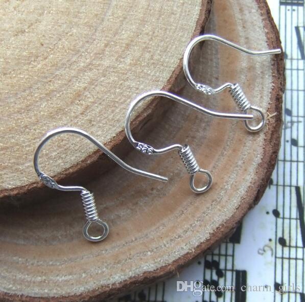 горячие стерлингового серебра 925 серьги выводы Fishwire крючки уха провод крюк французские крючки ювелирные изделия DIY 15 мм Рыболовный крючок Марка 925