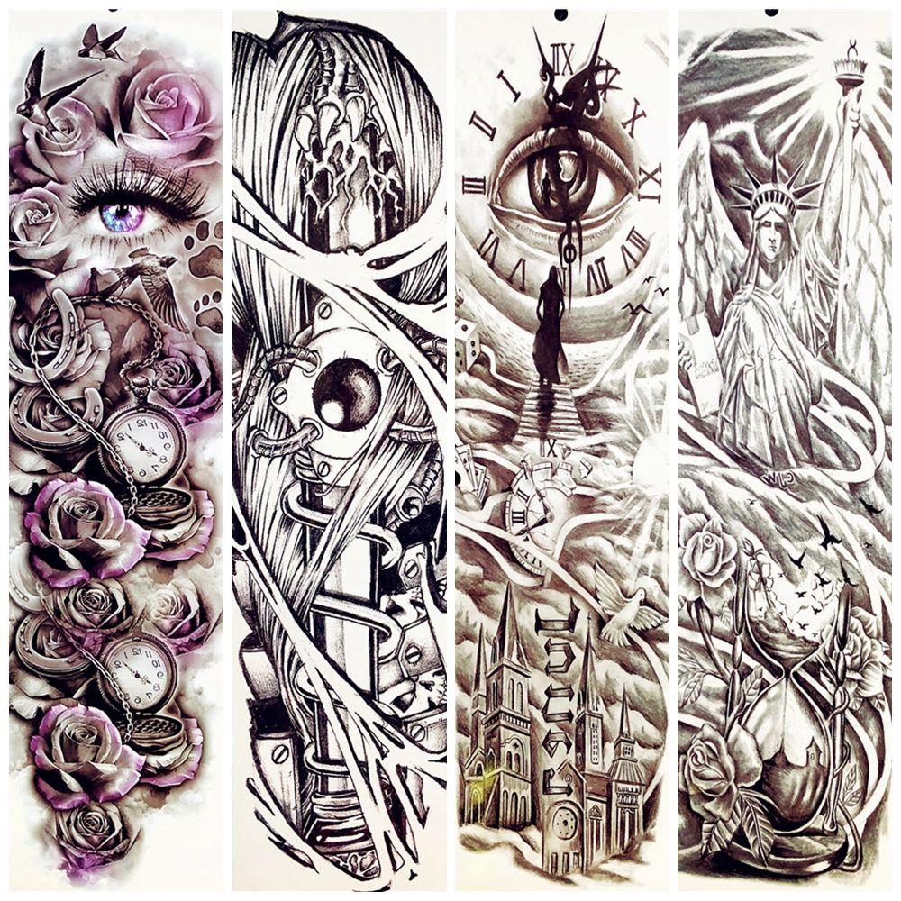 23 Patrón Completo Body Art Brazo Tatuaje Temporal Pegatinas Mujeres