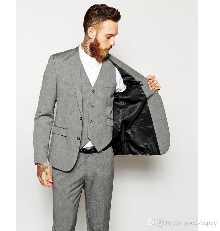 Custom Design De Haute Qualité Encolure Revers Gris Clair Tuxedos Groom Hommes Parti Groomsmen Costumes en smoking De Mariage Veste + Pantalon + Cravate + Gilet 260