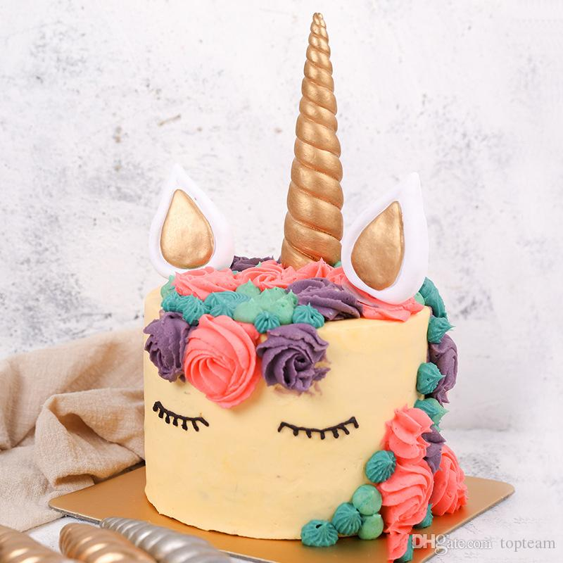 2019 New Cute DIY Handmade Unicorn ChildrenS Birthday Cake Ear Horns Topper Candle Party Wedding Anniversary Supplies Decor From Topteam