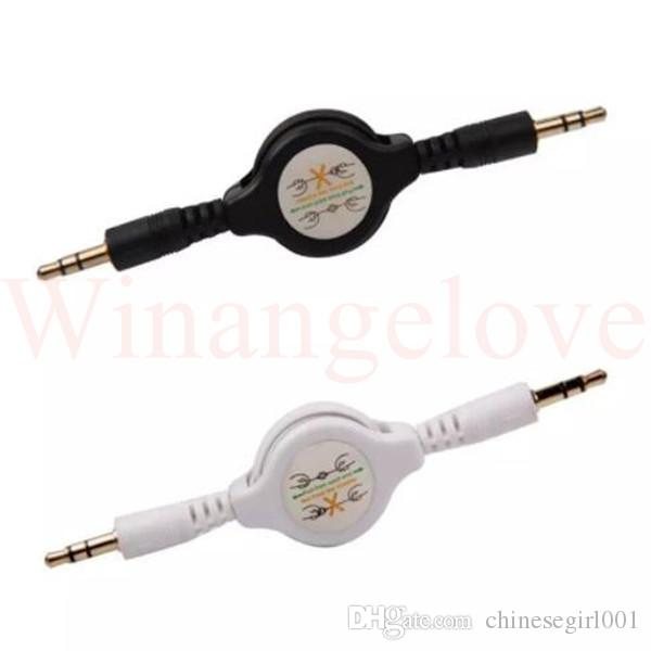 Stereo 3.5mm to 3.5 Jack male to male Car Audio Cable Male Retractable Aux Music Line for iphone mp3 speaker headphone