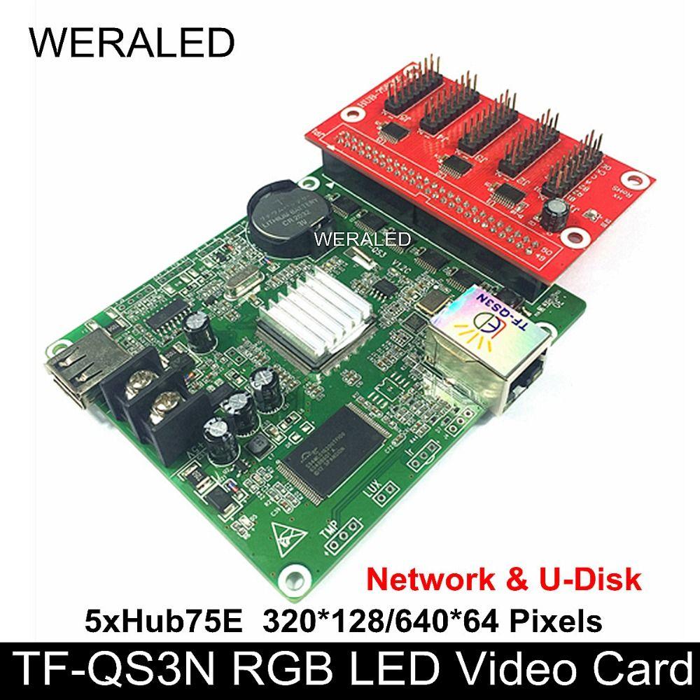 Asychronous TF-QS3N TF-QS3 Full Color LED Controller 160*128/320*64 Pixels  ports Support P4/P5/P6/P7 62/P8/P10 RGB LED Module