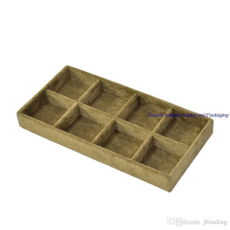 Atacado portátil pequeno bonito de jóias caixa de veludo de jóias mostrar bandeja Bead Brinco de armazenamento Stud anel de armazenamento Organizer Suporte Suporte de Bandeja