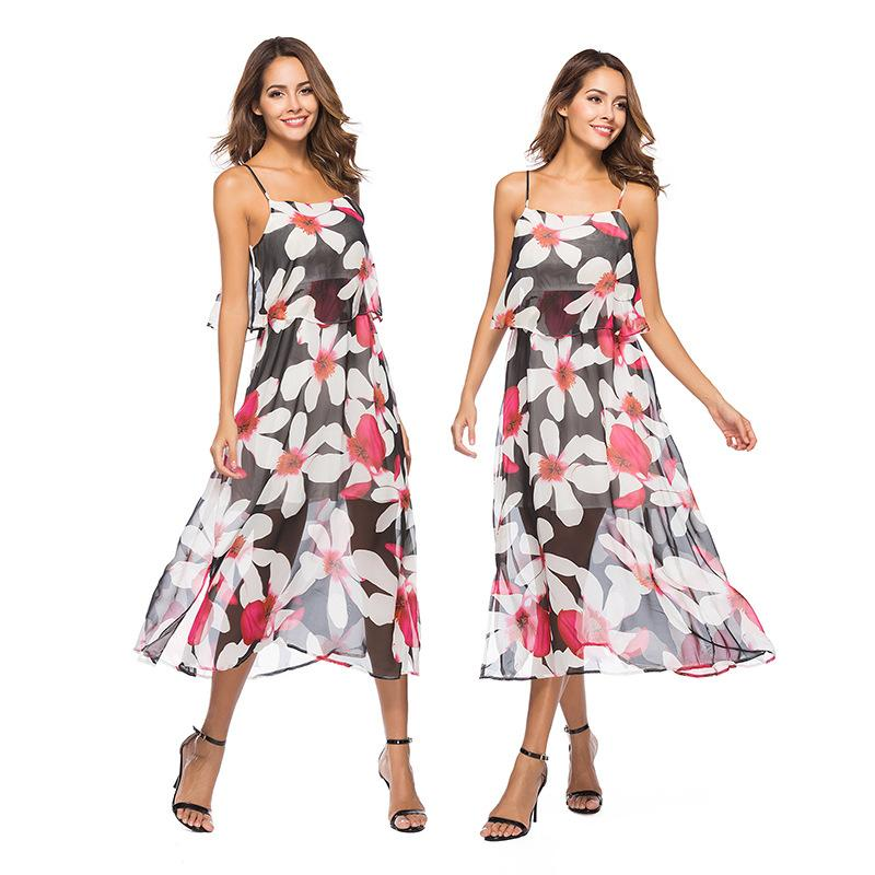7bce833cb3022 Party Wearing Dresses Women Clothing Sexy Fake Two Piece Beach Resort With  A Thin Chiffon Printed Dress With A Bohemian Dress Casual Party Dress Grey  Party ...