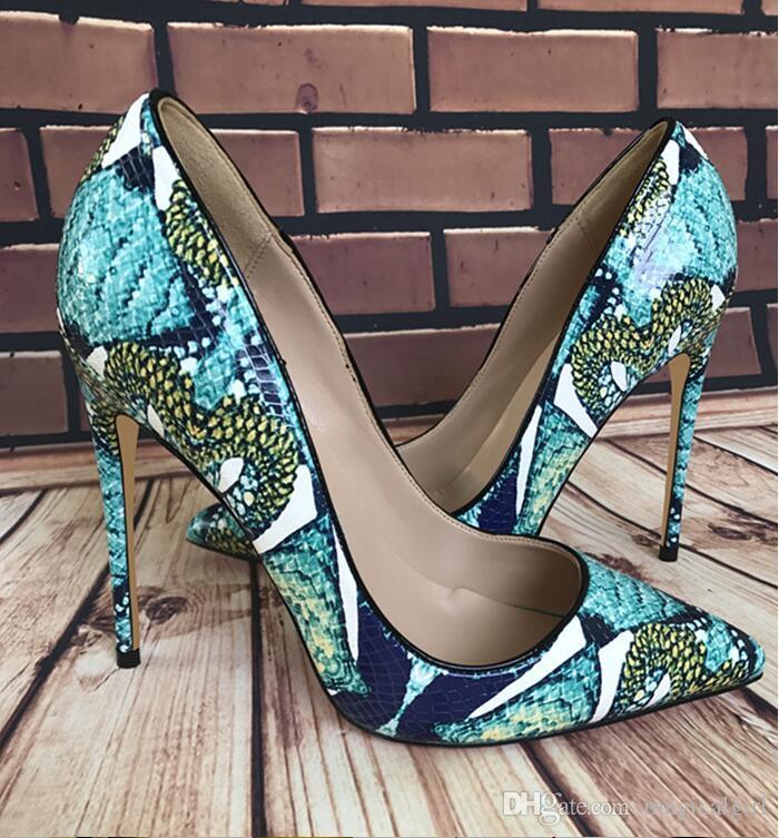 cf38396f6f72 Bona Fide 2018 New Shoes Woman Snake Printed Women Shoes Sexy 12CM High  Heels Pumps Pointed Ladies Party Wedding Shoes12cm 10cm 8cm Fashion High  Heels ...