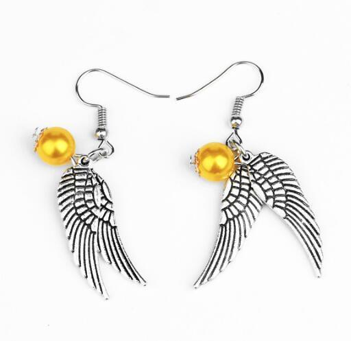 DHL Wings Earrings Golden Bead Snitch Earrings Drop Earrings Charm Vintage Bronze Silver Wings for Women Fashion Jewelry Movie Jewelry