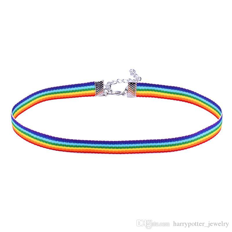 Dantel kolye erkekler Kadınlar Eşcinsel Gurur Gökkuşağı Gerdanlık Kolye Eşcinsel ve Lezbiyen Pride Dantel Chocker Şerit Yaka Kolye bırak gemi ile DHL 162572