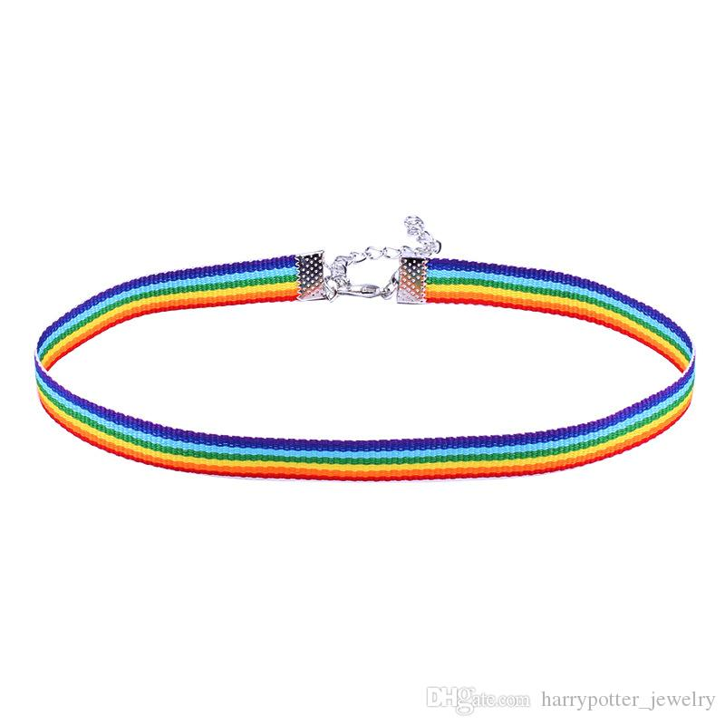 lace necklace men Women Gay Pride Rainbow Choker Necklace Gay and Lesbian Pride Lace Chocker Ribbon Collar with Pendant drop ship 162572